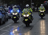 Olympic torch relay, Bolton-le-Sands, north Lancashire, Fri 22 June 2012 2.  Lots of police outriders.