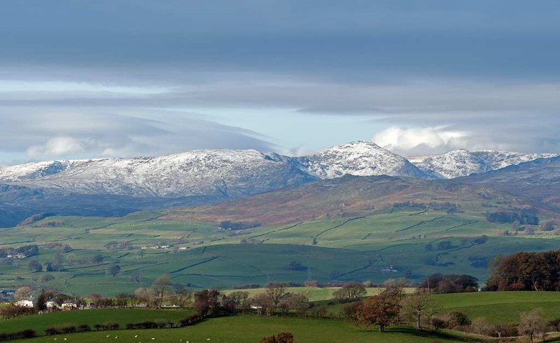 Kentmere Pike and Harter Fell (far right), looking north west from near Lambrigg Head, 11 November 2016.