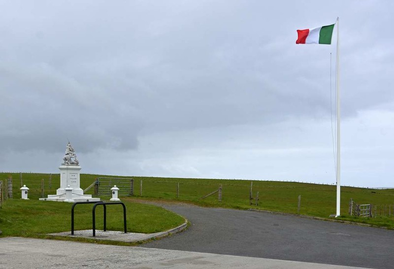 Italian chapel, Lamb Holm, Orkney, 26 May 2015 12.  Today the Italian tricolore flies at the chapel.