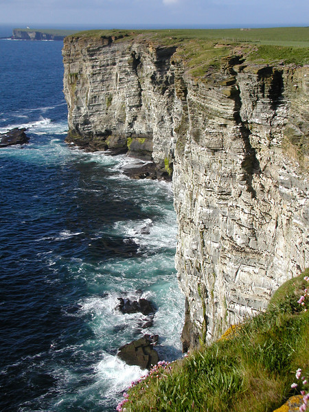 Cliffs near Marwick Head with Brough of Birsay in the background