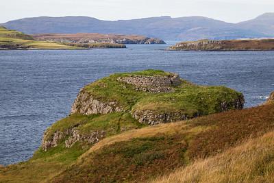 Dun Ardrek broch on Loch Harport, Skye