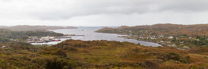 Lochinver in the Northwest Highlands on a rainy Autumn day