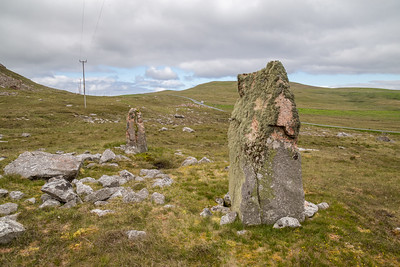 Standing Stones along the roadside in Shetland