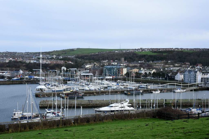 Welcome to Whitehaven!  17 January 2020.  Looking east over the harbour.  Although now a marina it was a working port which for 300 years to the 1970s exported locally mined coal, mainly to Ireland and the Isle of Man.