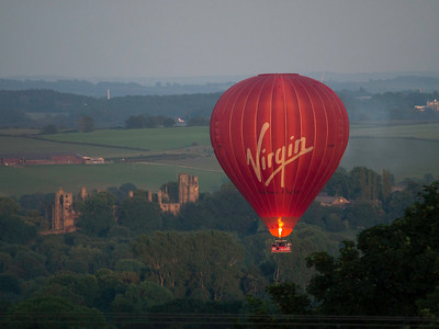 a hot air passenger balloon at dusk,Derbyshire, Britain