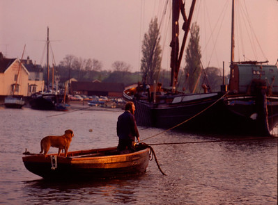 1980s MAN AND DOG IN DINGHY, SAILING BARGE IN BACKGROUND,AT PIN MILL ON THE RIVER ORWELL,ENGLAND