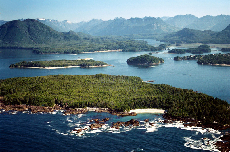 Tofino (mid right), Meares Island and Vancouver Island mountaians- Clayoquot Sound, Vancuver Island British Columbia, Canada<br /> <br /> NOTE: This photo is a sample only-- it is a low resolution scan from a color negative. A small print would be okay though.