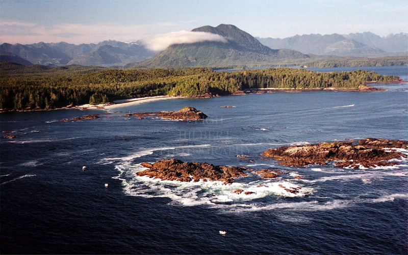Flores Island foreground, Mears Island behind - Clayoquot Sound British Columbia Vancouver Island: an amazing place-- countless wildlife and wild forests here.<br /> <br /> NOTE: This photo is a sample only-- it is a low resolution scan from a color negative.