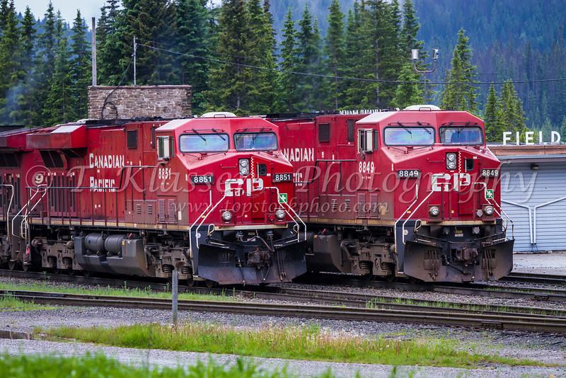 Two CP Rail train engines in Field, British Columbia, Canada.
