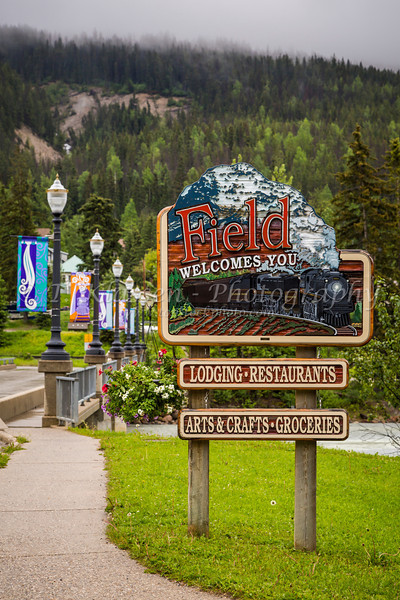 A welcome sign at the entrance to Field, British Columbia, Canada.