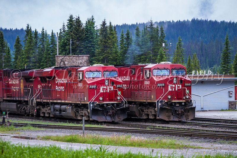 Two CP Rail train engines in Field, British Columbia, Canada.