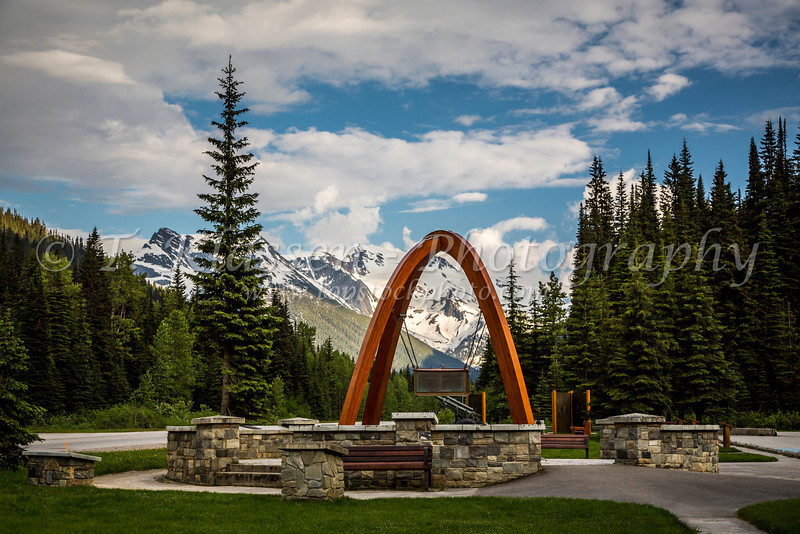 The Rogers Pass Summit Arches monument in Glacier National Park, British Columbia, Canada.