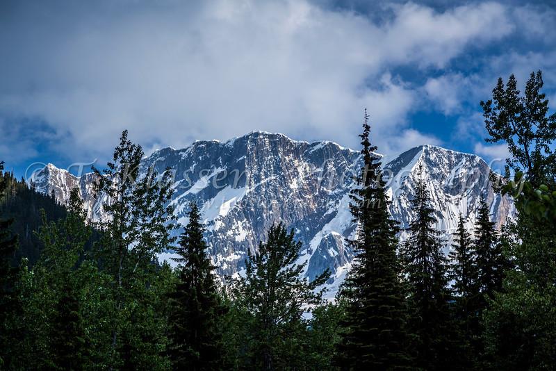 Glaciated mountain peaks in Glacier National Park, British Columbia, Canada.
