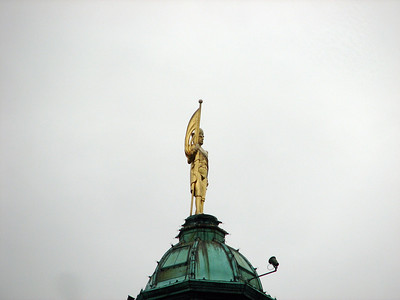 Person on top of the Parliament Building