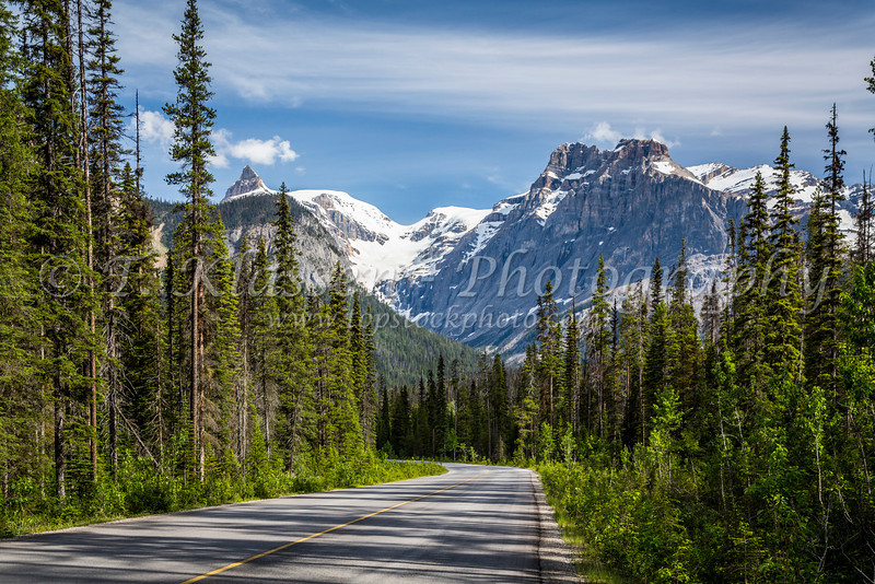 A park roadway through Yoho National Park, British Columbia, Canada.