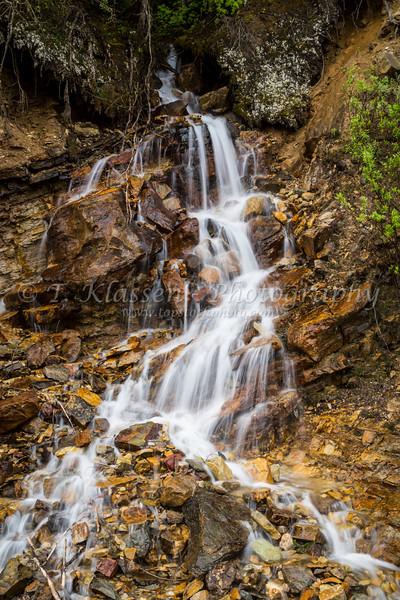 Small roadside waterfalls in Yoho National Park, British Columbia, Canada.