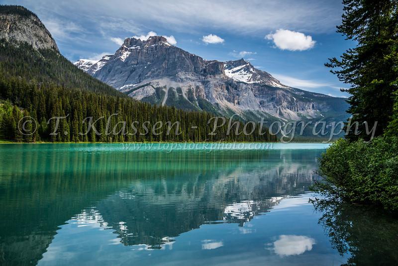 Mountain reflections on Emerald Lake, Yoho National Park, British Columbia, Canada.