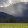 Rainfall over farmland