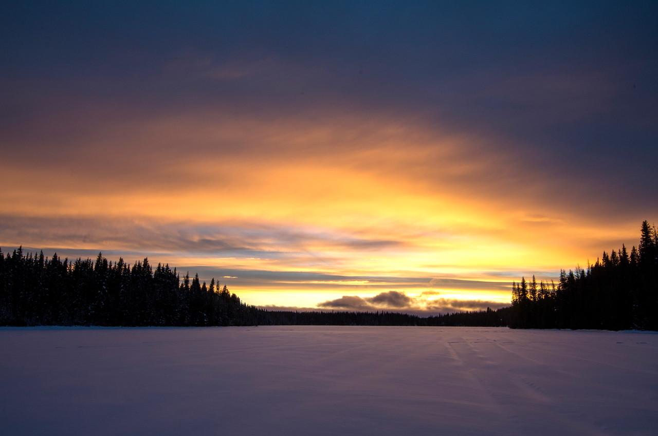 Paska Lake covered in snow