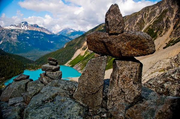 Inuksuk (Inukshuk) at the top of Joffre Lakes