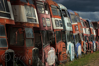 Abandoned Double-decker Buses