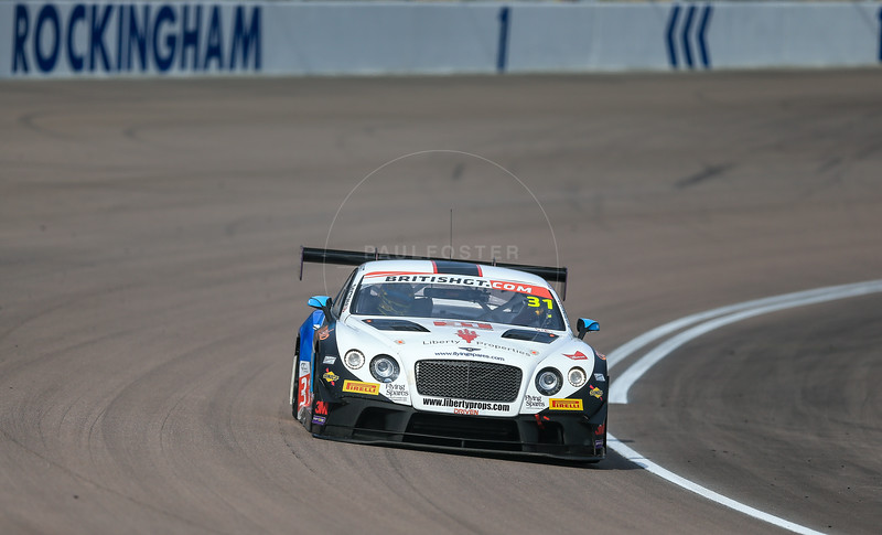 Team Parker Racing Bentley Continental GT3 #31 driven by Rick Parfitt / Seb Morris during the race for round 2 of the British GT championship held at Rockingham Motor Speedway, Corby, Northamptonshire from April 30th - May 1st 2016