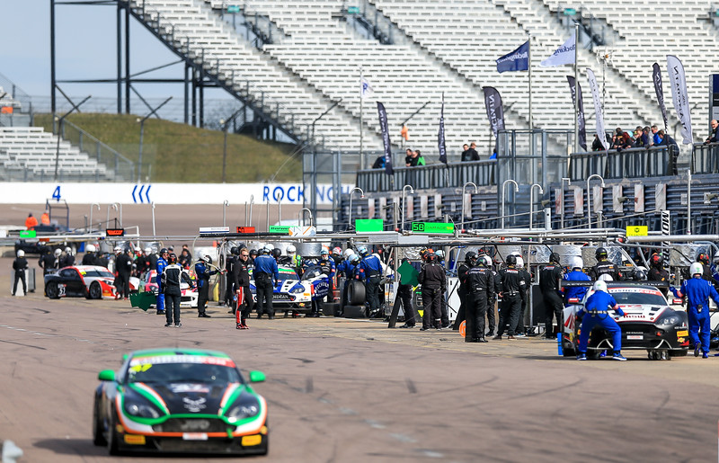 Pit Lane during the race for round 2 of the British GT championship held at Rockingham Motor Speedway, Corby, Northamptonshire from April 30th - May 1st 2016