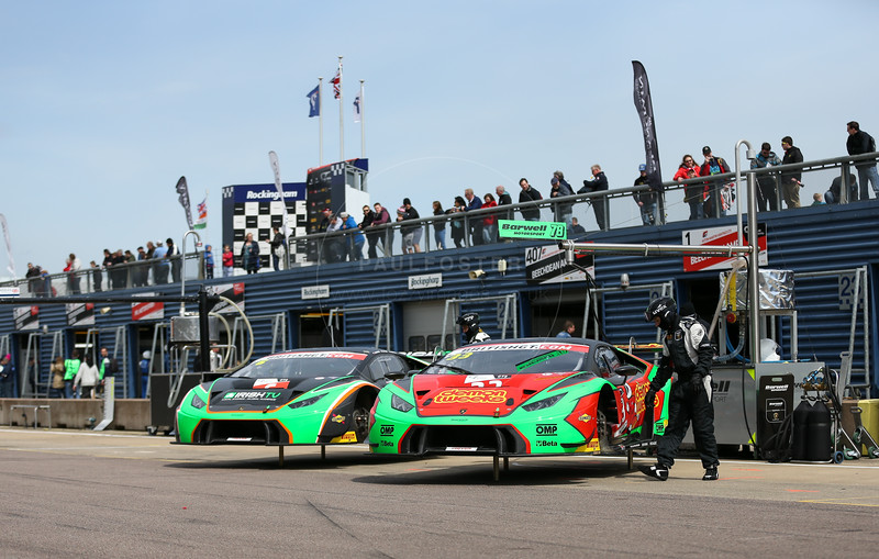 Barwell Motorsport Lamborghini Huracan GT3 #33 driven by Jon Minshaw / Phil Keen during the race for round 2 of the British GT championship held at Rockingham Motor Speedway, Corby, Northamptonshire from April 30th - May 1st 2016