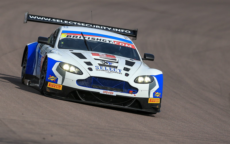 PFL Motorsport Aston Martin Vantage GT3 #5 driven by Peter Littler / Jody Fannin during the race for round 2 of the British GT championship held at Rockingham Motor Speedway, Corby, Northamptonshire from April 30th - May 1st 2016