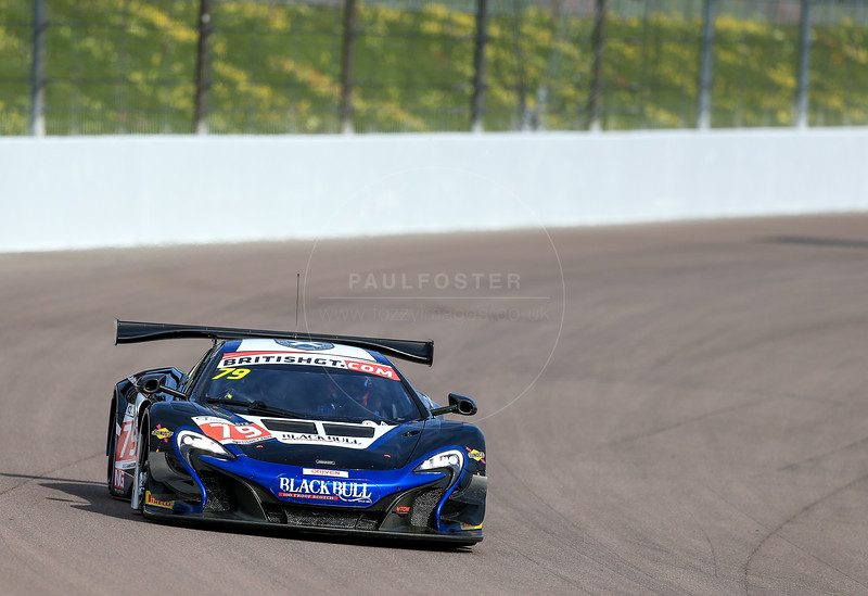 Black Bull Ecurie Ecosse McLaren 650S GT3 #79 driven by Alasdair McCaig / Rob Bell during the race for round 2 of the British GT championship held at Rockingham Motor Speedway, Corby, Northamptonshire from April 30th - May 1st 2016