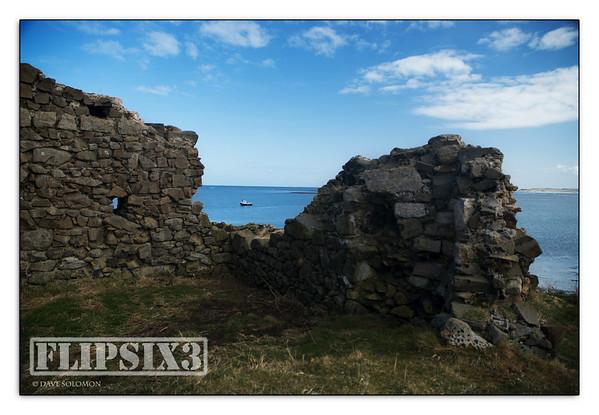 Ruins of stone cottage on Holy Island