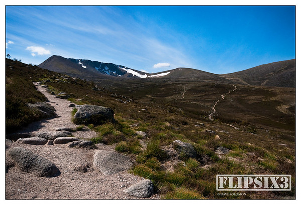 Stone pathway on the side of Cairngorm mountain in Scotland