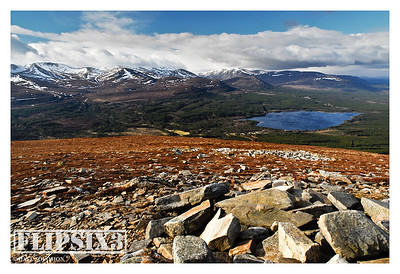 Views of/from Meall a'Bhuachaille: Looking down over Lock Morlich and the main Cairngorm chain