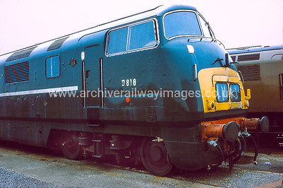 D818 Glory 1/6/84 Swindon Works D818 Withdrawn 11/72 NACut-Up 11/85 Swindon Works