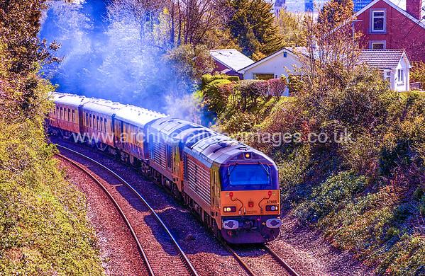 67005 + 67006 + 66027E 16/4/16 Plymouth. 1Z80 ex.12.31 Plymouth to St Austell via Penzance