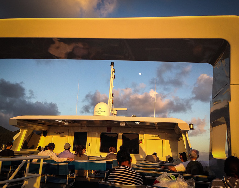 Chuck and I took the ferry from St Thomas to Gorda...late afternoon ride moving away from setting sun...see pinpoint moon rising. Beautiful introduction.