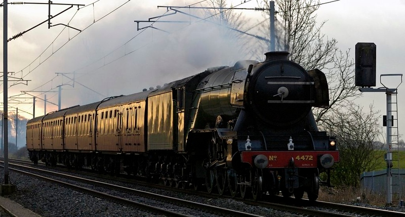 4472 Flying Scotsman, 5Z48, Carnforth, 20 December 2005 - 1442.  A Tyseley - York move.  This was Scotsman's last main line appearance before the National Rly Museum began its overhaul, not completed until 2016!