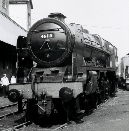 46115 Scots Guardsman, Haworth, 16 April 1967 1    6115 was built in Glasgow by North British in 1927 and rebuilt at Crewe in 1950.  It was withdrawn from Carlisle Kingmoor in January 1966 - NB the painted 12A shedcode.  It was towed from Carlisle to the KWVR on 11 August 1966 by 75051.