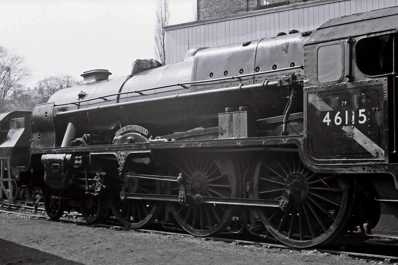46115 Scots Guardsman, Haworth, 16 April 1967 2    NB that the connecting rods have been removed, but that the nameplates and numberplate are still in place, unlike the shedplate.