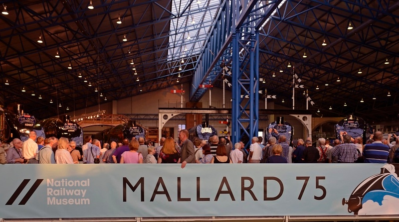 Welcome to Mallard 75!  National Railway Museum York, 5 July 2013.  To celebrate the 75th anniversary of the 126mph sprint by Nigel Gresley's A4 Pacific Mallard in 1938, the NRM reunited all six surviving A4s at York, including two from North America.  Here is my only photo with alll six surviving A4s in a single shot.