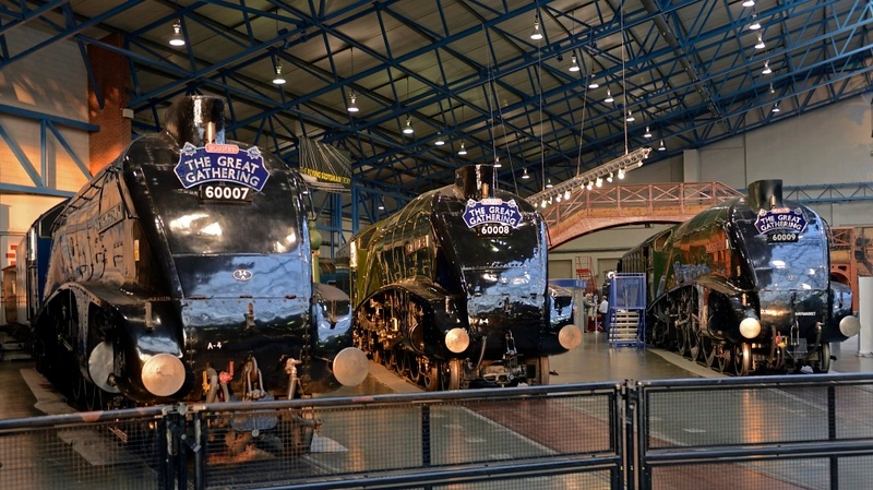 60007 Sir Nigel Gresley, 60008 Dwight D Eisnhower &  60009 Union of South Africa, National Railway Museum, York, 5 July 2013