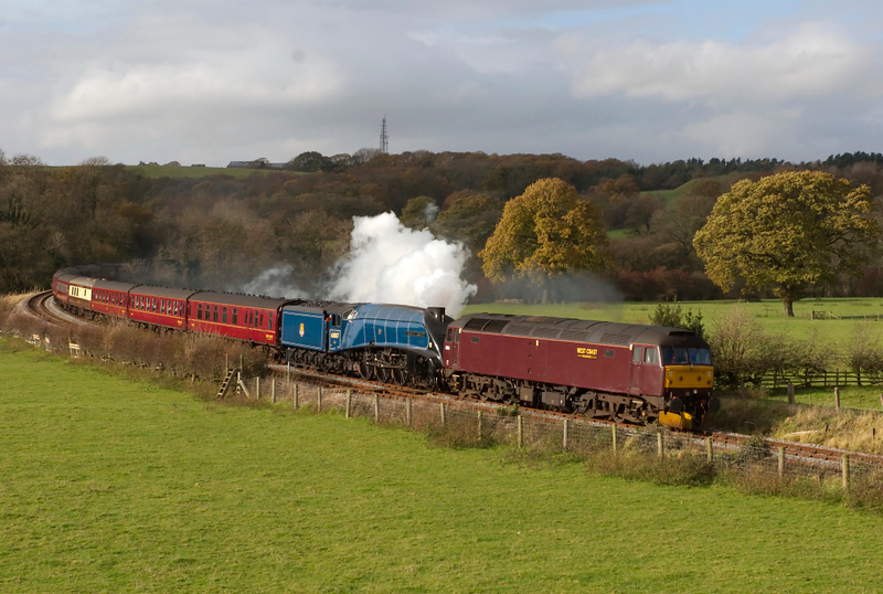 47854 & 60007 Sir Nigel Gresley, 5Z60, Wennington, 7 November 2008 - 1235.   An ECS move from Carnforth to Scarborough for the Rly Touring Co's 8 November 'Cheshireman' from Scarbourough to Crewe.  The A4 was booked to work the outward leg.