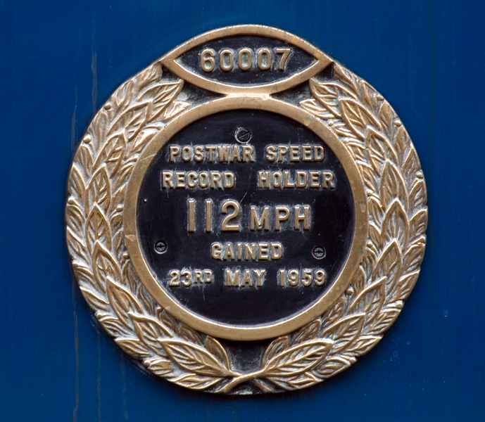 60007 Sir Nigel Gresley, Grosmont, 30 September 2007   A close-up of the plaque commemorating 60007's 1959 exploit, arguably the swansong for British high speed steam.