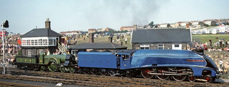 LNER 4498 Sir Nigel Gresley & GNR No 1, Shildon cavalcade, 31 August 1975.  Gresley introduced the A4s in 1935 to work the high speed London - Newcastle Silver Jubilee.  The success of this train led the LNER to follow up in 1937 with the London - Edinburgh non-stop 'Coronation', which covered the 393 miles in six hours.  In all 35 A4s were built, of which six survive. Photo by Les Tindall.