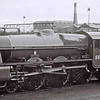 5596 Bahamas, Stockport Edgeley shed, 16 March 1968    Bahamas had been handed over to the Bahamas Locomotive Society on 11 March following an overhaul and repaint by Hunslet.  It was stored temporarily at Edgeley until the Society's premises at Dinting were ready.