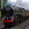 70013 Oliver Cromwell, 5Z33, Hest Bank, 5 August 2008 - 1728    Safety valves roaring, the Brit romps back to Carnforth.