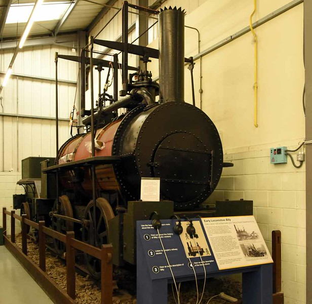 'Billy', Stephenson Railway Museum, North Shields, Sun 24 September 2017 1.  The origins of this 0-4-0 are uncertain but it is thought to have been built 1815 - 1820 by George Stephenson at the Killingworth colliery, north of Newcastle, where it worked until withdrawal and preservation in 1881.  It was rebuilt more than once at Killingworth, the last occasion being in 1867.
