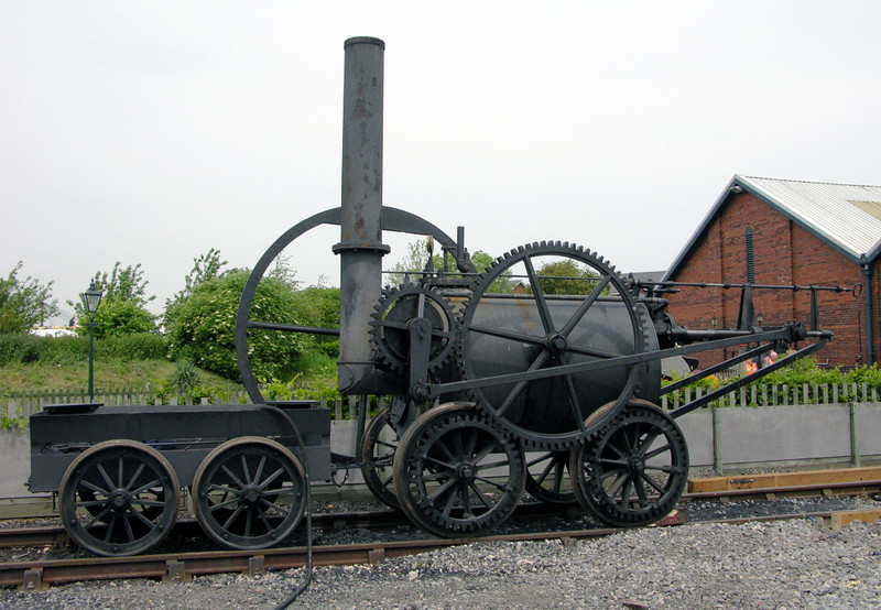 Replica of Pen-y-Darren locomotive, National Railway Museum Railfest, York, 28  May 2004 1.  In 1804 Richard Trevithick's locomotive briefly worked in south Wales over the 9.5 mile horse tramway between the Penydarren Ironworks near Dowlais and Abercynon on the Glamorganshire canal.  But it broke too many of the tramway plates and was soon dismantled.