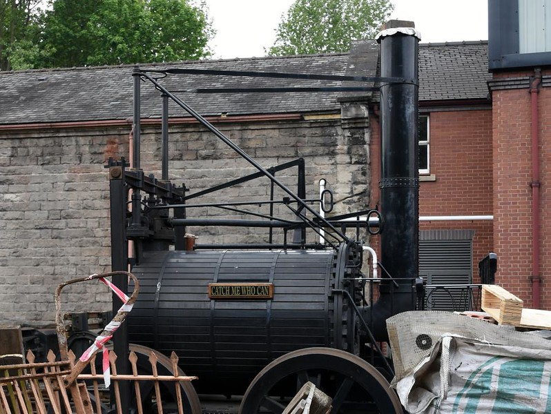 Replica Catch Me Who Can, Bridgnorth, Sun 19 May 2019 1.  Trevithick built Catch Me Who Can in 1808 and demonstrated it in London.  This working replica was built to mark the bicentenary of that event.