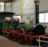 Replica of Ludwigsbahn 2-2-2 Adler, Nuremberg Rly Museum, 24 June 2004 1.  In 1835  Robert Stephenson supplied Adler (= Eagle) to the Nueremberg - Furth King Louis I Rly in Bavaria.  The German State Rlys built this working replica in 1935 for the line's centenary.
